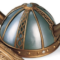 Child Viking Helmet - I'd place this on top of a pile of books, laying flat with the spines facing up, in a viking-themed nursery. When baby grows old enough to play dress-up, this helmet will be ready and waiting for imaginary adventures!