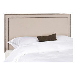 Safavieh - Cory Full Headboard - Taupe - Sleep in style with the elegant Cory Headboard in full size. Upholstered in taupe linen this transitional design is punctuated with a mitered double row of brass nailhead trim.