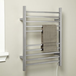 """24"""" Pala Plug-In Towel Warmer - An ideal size for a smaller bathroom, the Pala Warmer features ten rails for hanging towels. This stainless steel towel warmer mounts directly to the wall."""