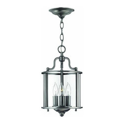 Hinkley - Hinkley Gentry 3-Light Pewter Framed Glass Foyer Hall Fixture - 3470PW - This 3-Light Framed Glass Foyer Hall Fixture is part of the Gentry collection and has a Pewter finish. It is dry rated.