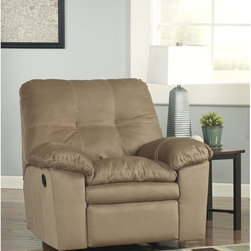 Signature by Ashley - Mercer Rocker Recliner in Mocha Fabric - Contemporary Plush Recliner. Infinite Reclining Positions. Distance Between Full Recliner and Wall: 12 in. . Lever Recliner. Plush Upholstered Arms. Mocha Fabric Upholstery. Accent Stitching. Tufted Back Cushion. Pillow Top Seat Cushions. CA117 Fire Retardant Foam. Durable Frame Construction. Metal drop-in unitized seat box for strength and durability. Corners are Glued, Blocked and Stapled. Upholstery pre-approved for wearability and durability against AHFA Standards. Cushion core constructed of low melt fiber wrapped over high quality foam. 100% Polyester. Spot clean with water based cleaner.
