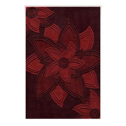 Momeni - Delhi Red Rectangular: 5 ft. x 8 ft. Rug - Delhi is exquisitely hand tufted and hand carved by master craftsmen. Made in India of 100% wool, the simplicity, elegance, and beauty of this fine collection is truly unique.  -100% Wool Fiber Momeni - DELHIDL-40RED5080