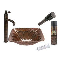 Premier Copper Products - Square Feathered Vessel Sink w/ ORB Faucet - PACKAGE INCLUDES: