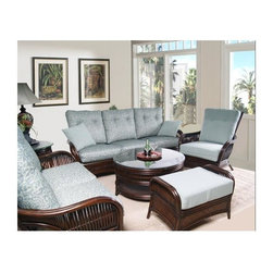 Boca Rattan - Bali 6 Pc Rattan Sofa Set in Coffee Bean (641 - Fabric: 641Set includes sofa, loveseat, chair, coffee table, end table and ottoman. Table glass top and cushions included. Indoor use only. Bevel glass table top. Leather binding. Constructed from strong and durable rattan. Sofa: 33 in. L x 80 in. W x 38 in. H (125 lbs.). Loveseat: 33 in. L x 56 in. W x 38 in. H (85 lbs.). Chair: 33 in. W x 32 in. D x 38 in. H (60 lbs.). Ottoman: 18 in. L x 29 in. W x 20 in. H (20 lbs.). Coffee table: 34 in. W x 34 in. D x 18 in. H (40 lbs.), Glass top: 36 in. Dia.. End table: 22 in. Dia. x 24.5 in. H (35 lbs.), Glass top: 24 in. Dia.