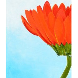 Orange Gerbera Daisy (Original) by Sherry Streeter - This painting brightens up a room and simply makes me smile.  It is one of the many beautiful flowers we see during the spring and summer months.  I decided to capture it on canvas to be enjoyed all year.