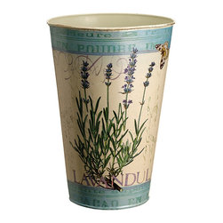 Allstate Floral & Craft - Cream & Blue 9.5'' Lavender Bucket - Display spring's blossoms in seasonal style with this antique-inspired bucket. Adorned with lovely lavender, it's an eye-catching display piece that looks elegant even when unfilled.   9.5'' H x 6.25'' diameter Imported