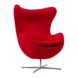 Cell Chair in Red - Exaggerated wingtips and an organic, body-hugging form lend this lounge chair a cozy, contemporary look. Place it in the living room or bedroom as the center of style, or use it as your main seat and pair with a footstool or ottoman in the reading nook.