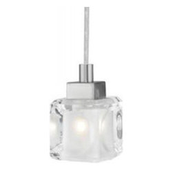 Eglo Lighting - Tanga 1 86564A - Pendant Lamp | Eglo - Eglo Lighting Tanga 1�86564A�Pendant Lamp features�matte nickel finish with frosted and clear shade. Manufacturer:�Eglo LightingSize:�4.3 in. length x 59 in. height max field cuttable cord Light Source:�1 x 40 watt G9 - not included Certifications: ETL Location: Dry