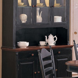 Winners Only - Cottage 2 Pc Buffet w Serving Hutch Set - Glass doors. Two drawers. Three doors. Buffet w/hutch is a combination of hardwood, veneers, & MDF (MediumDensity Fiberboard). Drawer glides are wood on wood. Hutch depth is 15.5 in.. 52 in. W x 18 in. D x 81 in. H (287 lbs.)