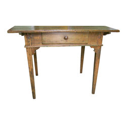 Consigned Antique Waterloo Peg Top Table Pine Tapered Legs - This 1850s peg-top writing table comes from the Waterloo region of Canada. The two-board pine top is authentically distressed to enhance its vintage appeal. A lap drawer provides convenient storage for small items, like keys or pens. This table is the perfect focal point piece for your office, bedroom or foyer.