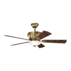N/A - Transitional Burnished Antique Brass Ceiling Fan and Light Kit - This beautiful transitional ceiling fan features a rich,burnished antique brass finish,complemented by warm teak-finished blades with a 3-light kit offering a satin etched glass shade that will compliment many decors throughout the home.