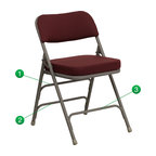 Flash Furniture - Flash Furniture Hercules Series Premium Upholstered Metal Folding Chair - The Triple Braced Hercules Series Folding chairs are our best folding chairs ever. When in need of temporary seating this heavy duty gray metal frame chair with burgundy fabric padded seat and back is perfect. This portable folding chair can be used for Parties, Graduations, Sporting Events, School Functions and in the Classroom. This chair will be the perfect addition in the home when in need of extra seating to accommodate guests. The chair will not take up anywhere near as much space as chairs that cannot fold when it comes time to clean up. This economically priced chair will endure some heavy usage with an 18-gauge steel frame, triple braced and leg strengthening support bars. [HA-MC320AF-BG-GG]