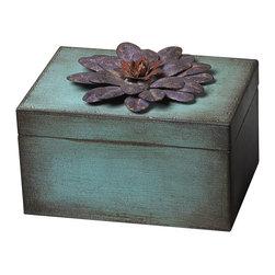 Wooden Metal Flower Keep Sake Box - Purple - *Dimensions: 5L x 7W x 4.75H