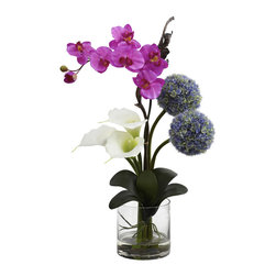 None - Calla Orchid and Ball Flower Arrangement - Provide your home or office with this gorgeous faux flower arrangement. Easy to maintain,but with all the beauty of real flowers,this set will make a perfect floral accent and add vitality to any space.