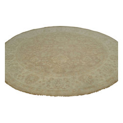 Washed Out Taupe Peshawar Rug 8'x8' Round Hand Knotted 100% Wool Sh17984 - Oushak stands for the western Anatolian Turkish city, known for its rare collectible rugs made during the Ottoman Empire. Today we are recreating these historical carpets, in the centuries-old hand weaving techniques, the same fantastic designs in a variety of colors to fit today's decor and taste using natural dyes and hand spun wool. Ziegler stands for Ziegler and company, German based oriental rug importer which operated between 1880-1920. They originally produced and imported these precious carpets in the Mahal region in Iran, specifing to the locals the German and European taste.