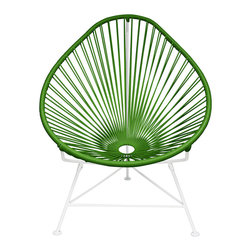 Sunburst Drop Chair in Olive - Sit back and melt into this sunburst-woven modern lounge chair, complete with UV-resistant vinyl cord for breathability and support, plus  a rust-resistant galvanized steel frame with a semi-textured polyester powder coat. This stackable chair comes with a tripod base, and it's weatherproof and easy to clean. Use this chair inside or outside—it will be sure to add a burst of color and motion wherever it goes.