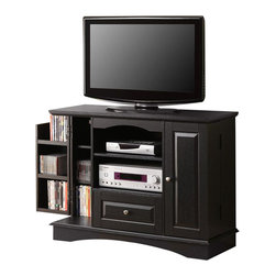 "Walker Edison - Walker Edison 42 Inch Bedroom TV Console with Media Storage in Black - Walker Edison - TV Stands - WQ42BC3BL - With its added height this sturdy wood TV console is an ideal piece for the bedroom. The elegant beveled panels and rich black finish give a traditional feel. Console will accomodate most flat-screen TV's up to 50"""". The drawer adjustable shelf and extra door storage provide ample room for all of your entertainment needs. Features: Stylish traditional design Durable laminate and MDF board construction Rich black finish Accommodates most flat-screen TV's up to 50"" Holds up to 250 lbs.  Single drawer Adjustable shelf provides ample storage for A/V components Door storage that will hold up to 200 DVD's Ships Ready-To-Assemble  Assembly instructions included with available on-line/toll-free support"