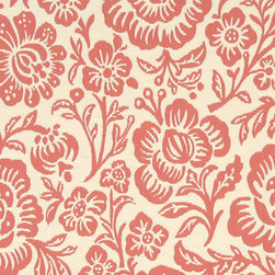 Coral Pink And Beige Floral Reversible Matelasse Upholstery Fabric By The Yard - This fabric is uniquely reversible, and the colors are inversed when flipping it over. Either side is great for upholstery, and it is rated heavy duty for lasting durability.