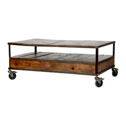 French Industrial Coffee Table  | Wisteria - The Industrial Era has a lot of style to offer to the Internet Era, as well as practicality. This can double as a bench, it has drawers and and an extra shelf for stashing coffee table books, magazines, cards, games and remotes. Oh, and for added fun, you can roll it all around the room.