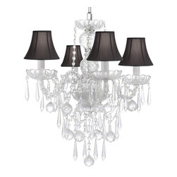ALL Crystal Chandelier Lighting Chandeliers with 40mm Crystal Balls & Crystal - This beautiful Chandelier is trimmed with Empress Crystal(TM). Item must be hardwired. Professional installation is recommended. Requires (4) 40 watt bulbs - not included.