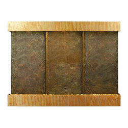 Water Wonders - Lightweight Indian Raja Slate Triple Panel Wall Fountain (Brushed Stainless Stee - Choose Frame: Brushed Stainless Steel. Indoor use only. Adjustable water flow. Quiet submersible pump. LED lighting with remote control keypad. Engineered with splash-free design. Polished river rocks. NSI Indian Raja slate. 76.5 in. W x 6.5 in. D x 57.5 in. H (112 lbs.). Instruction Manual & WarrantyCombines genuine multi-color Indian Rajah slate with water flowing passed polished river rock creating a soothing sound and awesome focal point for any room. Choose and change colors to your mood from cool white plus 12 additional colors. Create effects such as gradual transition of colors, dim, brighten and more all with remote control keypad. Rated for over 20,000 hours of lighting. Simply hang on the wall per instructions. NSI slate, our special process shears a layer of genuine Indian Raja slate and fuses it to a composite material with the same chipped edge technique as slab slate. They are indistinguishable from a thick slab of slate. All the beauty is retained and the weight is reduced by over 90%. Please note that these units are handmade and measurements may vary slightly. Texture and color of the Copper and slate may also vary slightly with each fountain.