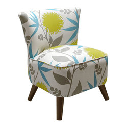 Soft Floral Lounge Chair - An unobtrusive pastel palette comes together in a cool, modern floral print on this lounge chair inspired by mid-century modern design. With its thickly cushioned seat and angled-out conical legs, it'll cozy up your bedroom or living room with a feel that's modern and retro.