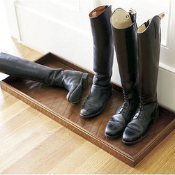 Ballard Designs - Ballard Boot Tray - Our Entryway Boot Tray will help to keep your floors free of mud and debris.This Large Boot Tray will also keep your floors free of shoe clutter by providing a convenient place to remove and store shoes. Hand crafted and decorated with fleur-de-lis or quilted detail. Antique copper finish.