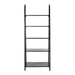 Safavieh - Safavieh Albert Etegere X-B4456HMA - Inspired by the classic library ladder, the Albert Etagere has a contemporary A-line profile with five shelves that increase to a slim 15.9 inches at the base. Display favorite photos, keepsakes, books and more on this clean transitional piece crafted of Pine in Distressed Black finish.