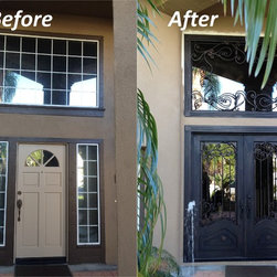 Orange wrought iron fron doors and transom straight top - Increase value of your house.
