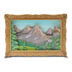 Cardboard Safari - Reliéve Scenic Frame, Mountains - If you wish to add another window to your space our framed perspective scenes will provide a fresh view.