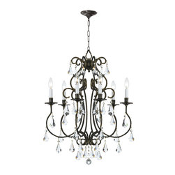 Crystorama - Crystorama 5016-EB-CL-MWP Ashton 6 Light Chandeliers in English Bronze - Grace never goes out of style. Ashton is a collection designed for today, tomorrow and everyday. It takes the notion of crystal chandeliers beyond traditional. Features modern hand-painted finishes, graceful lines and updated crystal shape.
