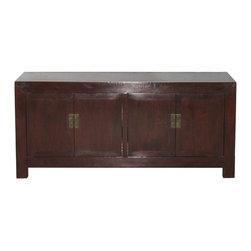 Rattan Top Walnut Buffet - Chinese 4-door walnut wood buffet with rattan top. New interior shelving and hardware.