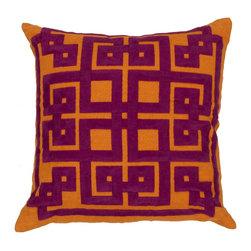 "Surya - Surya 18 x 18 Decorative Pillow, Burnt Orange and Raspberry (LD014-1818P) - Surya LD014-1818P 18"" x 18"" Decorative Pillow, Burnt Orange and Raspberry"