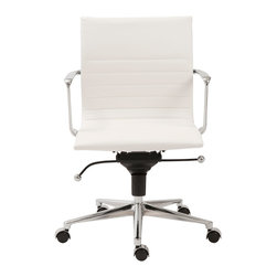 Euro Style - Kyler Low Back Office Chair - White Leatherette/Chrome - These are no ordinary chairs. Of course, all of the necessary goodies are here. Tilt. Swivel. Gas lift. Casters. And the look is decidedly contemporary: in the way the chair is upholstered with horizontal seams and in the way the seat is engineered to join the base. It's a very intelligent office chair.