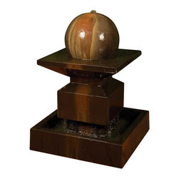 Alaster Outdoor Fountain with Ball, Sierra - A post-modern masterpiece, the Alaster gets its bold looks from classic architectural elements but presents itself in a contemporary fashion. The flow of the fountain is subtle and adds gentle sense of motion and pleasant sound to any environment.