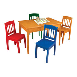 KidKraft - Euro Honey Table and 4 Chairs, Honey by Kidkraft - Our Euro Table and 4-Chair Set provides kids with a wide-open space for eating, learning and playing together. With its fun, vibrant colors and smart design, this wooden furniture set would be perfect for any household with children.