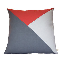 Geometric Color Block Pillow Cover | Steel Gray + Coral + White/Silver Metallic - Geometric Color Block | Steel Gray + Coral + White/Silver Metallic Linen Pillow Cover