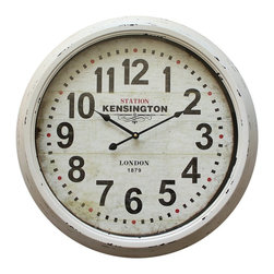Yosemite Home Decor - Yosemite Home Decor 24 in. Circular Iron Wall Clock Distressed White Iron Frame - Add character to your living space with this European style wall clock. The frame is a distressed white finish with grooves going around the frame. The dial is a similar distressed white color with the words Station Kensington under the twelve and London 1879 right above the six. At almost two feet in diameter this makes a great clock for a larger room/wall with an easy to read dial.