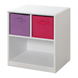 4D Concepts - 4D Concepts Girl's Nightstand in Beech - This juvenile Nightstand has Pink and Purple accents just right for your child's bedroom! The top of unit is shaped and corners are eased so there are no sharp edges. The colorful ready-to-unfold canvas drawers are accented with handles attached on two sides of the drawers. These drawers are great for holding your games, controllers, clothes, toys or any of your storage needs. The drawers rest gently on the shelf and can be carried with the handles to take with you to any room in the house.  This nightstand fits perfectly next to any kids bed.  Constructed of Composite Board and highly durable PVC laminate. Clean with a dry non abrasive cloth. Ready to Assemble with Cam and Dowel Construction