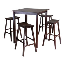 Winsome - Winsome Parkland 5 Piece Square High/Pub Table Set with 4 Saddle Seat Stools in - Winsome - Pub Sets - 94549
