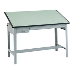 Safco - Precision Drafting Table (60 in. Drafting Board) - Choose Table Top: 60 in. Drafting Board. Sturdy 1 in. board. Heavy-gauge 4-post steel base with bottom stabilizing bars. 50 degrees adjustability tilt. Made from particle board and steel. Green laminate finish with grey. No assembly required. Locking tool drawer: 12.5 in. x 29.75 in.. Reference drawer: 38.25 in. x 28.75 in.. 60 in. Table top: 60 in. W x 37.5 in. D x 1 in. H (70 lbs.). 72 in. Table top: 72 in. W x 37.5 in. D x 1 in. H (80 lbs.). Table base: 56.5 in. W x 30.5 in. D x 35.5 in. H (93 lbs.). Assembly Instructions: Table Top, Table BaseDo your work with Precision! This table top is perfect for drafting. Ensure your engineers, artists and architects always have an area where they can create the next big idea. Great for home or office use, this table top will provide the perfect place for drawing, stenciling and finishing projects.