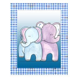 Oh How Cute Kids by Serena Bowman - Two by Two Blue - Elephant, Ready To Hang Canvas Kid's Wall Decor, 24 X 30 - Each kid is unique in his/her own way, so why shouldn't their wall decor be as well! With our extensive selection of canvas wall art for kids, from princesses to spaceships, from cowboys to traveling girls, we'll help you find that perfect piece for your special one.  Or you can fill the entire room with our imaginative art; every canvas is part of a coordinated series, an easy way to provide a complete and unified look for any room.