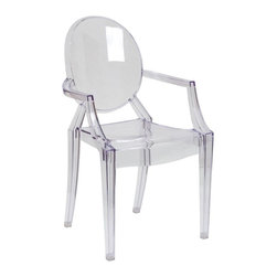 Flash Furniture - Ghost Chair with Arms in Transparent Crystal - Create a beautiful and artistic statement with the Louis Inspired Ghost Chair. This chair will lighten up any room and provide a grand statement. The transparency of the chair allows it to take up less space visually as with a solid chair. The versatility of this chair makes it look great in any contemporary indoor setting, but suitable for outdoor seating as well. Showing off this masterpiece will also not break your budget, but will just look like you did! The lightweight quality built chair was built to give you years of use and comfort.