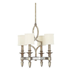 Capital Lighting - Palazzo 4 Light 1 Tier Mini Chandelier - Featuring a simple mission design with a twist, this trendy four light mini chandelier features a rustic finish and a central disc surrounded by Antiqued Mirror tiles.