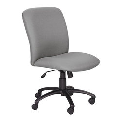 Safco - Uber Big and Tall High Back Chair in Gray - For big and tall individuals, the Uber office chair is up to the task of support and comfort. Gray upholstered seat and back offer classic ergonomic styling with options for adding arms. The base incorporates a heavy-duty height adjustable cylinder and five-prong feet. Comfortably upholstered seat and back. 100% polyester upholstery. Pneumatic seat height adjustment. 360 degree swivel. Tilt. Tilt tension. Tilt lock. 2 in. diameter dual wheel hooded carpet casters. Weight Capacity: 500 lbs.. Meets ANSI/BIFMA, FNEW Industry standards. Made from nylon. Seat Size: 22.25 in. W x 20.75 in. D. Back Size: 23 in. W x 23 in. H. Seat Height: 19.5 - 23.5 in.. Overall: 27 in. W x 30.25 in. D x 40.75 - 44.75 in. H (40 lbs.). Assembly InstructionGet the sit that fits! Uber is great for life's varying shapes, sizes and working environments. Police officers, carpenters and utility workers all wear belts that can get in the way of a comfortable seat, but not with Uber! Uber can be used for guest seating, in shared spaces such as break rooms or any office area that needs a comfortable seat.
