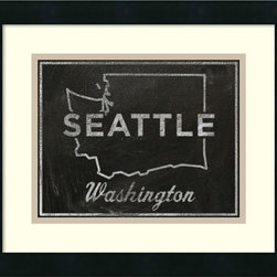 Amanti Art - 'Seattle, Washington' Framed Art Print by John W. Golden - Seattleites, show your civic pride with this charming blackboard portrait of Seattle, Washington.