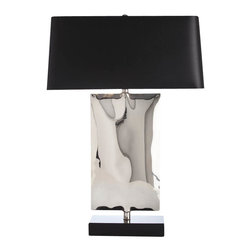 Arteriors - Navarro Lamp - Couldn't we all use a little Cary Grant? With its masculine, modern shape and dapper, old Hollywood finishes, this table lamp will become an affair to remember. The silver-lined black shade, gleaming, undulating silver body and black marble base are like a classic set of cuff links, creating the perfect balance of drama and subtle detail.