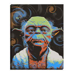 "DiaNoche Designs - Yoda Illuminated Wall Art - Illuminated wall art by DiaNoche Designs, brings continuous art 24 hours a day. Art during the day... flip a switch, and at night, it is a light! Art by Ty Jeter - Yoda. DiaNoche Designs illuminates artwork from behind using LED's designed to last 50,000 hours. The ""Art Today, Light Tonight"" concept gives each customer an opportunity to enjoy their artwork 24 hours a day! DiaNoche Designs uses images from artists all over world and literally ""Brings to Light"" their astonishing works. Your power cord can be hidden by a simple cable organizer or cable raceway, that commonly hides speaker wire on a wall. This can be purchased at any home improvement store and you can also paint over it."