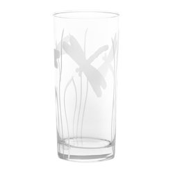Rolf Glass - Dragonfly Cooler 15oz, Set of 4 - Tall and long and lovely, this set of glasses won't disappoint. You can use them for everything from lemonade to Mai Tai's. Made from cut glass. Engraved dragonflies dancing amidst blades of grass complete the summery look.