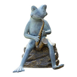 "SPI - Frog Bluesman with Bluetooth Speaker Garden Sculpture - -Size: 20.5"" H x 16.5"" W x 14"" D"